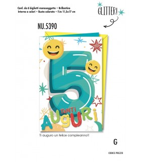 Biglietto Cromo Compleanno 5 Anni conf. 6 pz. monosoggetto