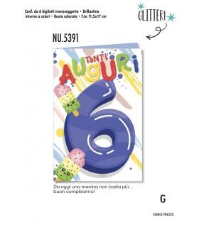 Biglietto Cromo Compleanno 6 Anni conf. 6 pz. monosoggetto