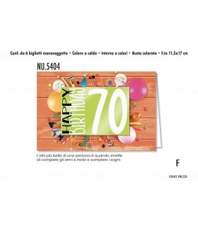 Biglietto Cromo  Compleanno 70 Anni conf. 6 pz. monosoggetto
