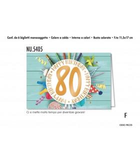 Biglietto Cromo  Compleanno 80 Anni conf. 6 pz. monosoggetto