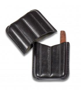 Porta 4 Sigari Toscanelli Dal Negro in vera pelle sienna colore Nero