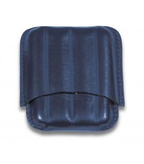 Porta 4 Sigari Toscanelli Dal Negro in vera pelle sienna colore Blu