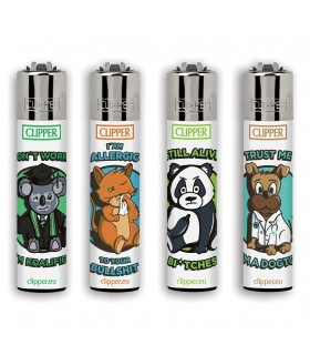 Accendino Clipper Large Animal sentences conf. 48 pz. assortito con 4 grafiche