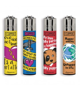 Accendino Clipper Large Love Quotes conf. 48 pz. assortiti con 4 grafiche