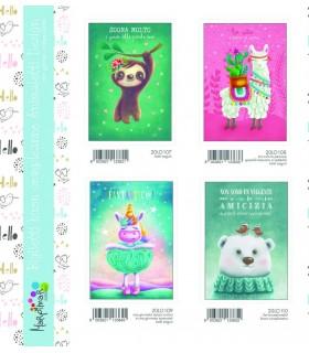 Biglietto Marpimar Compleanno Animaletti con glitter conf. 12 pz. assortiti con 4 soggetti