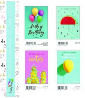 Biglietto Marpimar Compleanno Lifestyle con glitter conf. 12 pz. assortiti con 4 soggetti