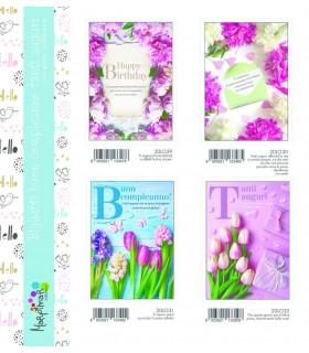 Biglietto Marpimar Compleanno Fiori con Glitter conf. 12 pz. assortiti con 4 soggetti