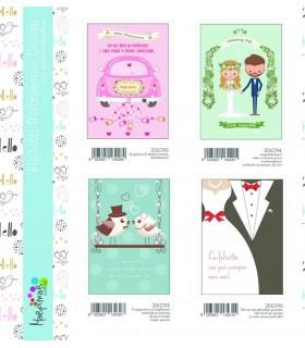 Biglietto Marpimar Matrimonio Portasoldi con glitter conf. 12 pz. assortiti con 6 soggetti