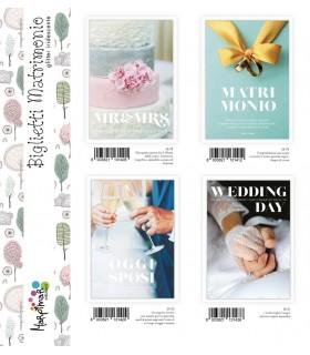 Biglietto Marpimar Matrimonio con glitter conf. 12 pz. assortiti con 4 soggetti