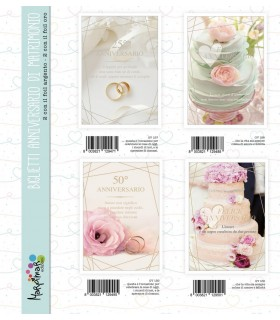 Biglietto MArpimar Anniversario Matrimonio conf. 12 pz. assortiti con 4 soggetti