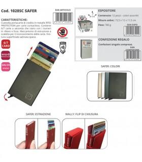 Custodia Portacarte in metallo con Protezione RFID per carte Contactles expo da 12 pz. colori assortiti