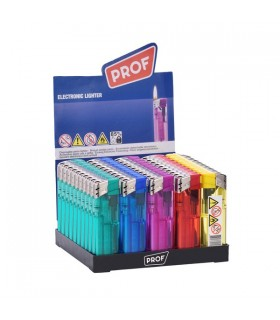 Accendino Elettronico Prof Trasparente conf. 50 pz. assortito con 5 colori