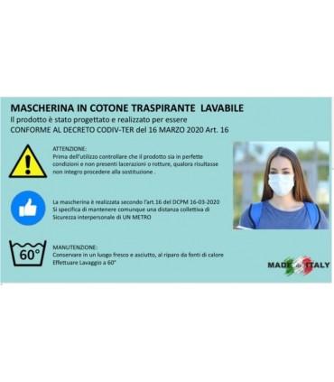 Mascherina in Cotone Traspirante Lavabile conf. 10 pz.