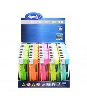Accendino Elettronico Atomic Turbo Trasparente conf. 50 pz. assortito con 5 colori