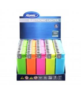 Accendino Elettronico Atomic Turbo Neon conf. 50 pz. assortito con 5 colori