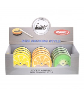 Posacenere Tascabile Atomic Fruits in Metallo  Expo da 12 pz. fantasie assortite