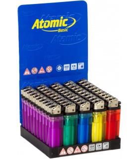 Accendino Atomic a Pietrina colorato trasparente conf. 50 pz.  assortiti con 5 colori