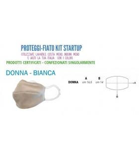 Mascherine Proteggi-Fiato Donna in Cotone 100% Lavabile idrorepellente e Traspirante conf. 10 pz. colore Bianco