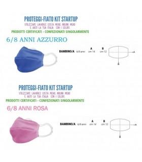 Mascherine Proteggi-Fiato Bimbo/a 6/8 Anni in Cotone 100% Lavabile idrorepellente e Traspirante conf. 10 pz. colori ass.
