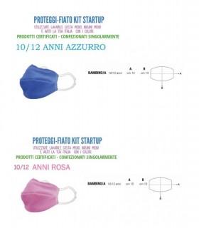 Mascherine Proteggi-Fiato Bimbo/a 10/12 Anni in Cotone 100% Lavabile idrorepellente e Traspirante conf. 10 pz. colori ass.