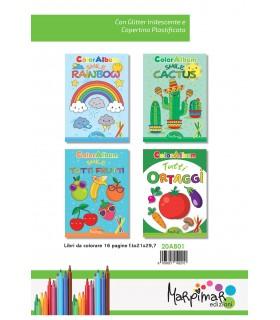 4  Libri da Colorare Marpimar con Glitter da 16 Pagine assortiti (Rainbow - Cactus - Tutti i frutti - Ortaggi) come da foto