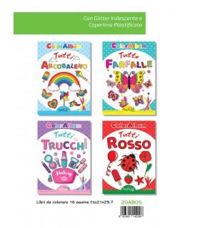 4 Libri da Colorare Marpimar  da 16 Pagine assortiti ( Farfalle - Arcobaleno -  Tutti Trucchi - Tutti Rosso) come da foto