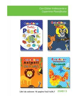 4  Libri da Colorare Marpimar con Glitter da 16 Pagine assortiti come da foto