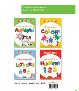4 Libri da Colorare Marpimar da 16 Pagine assortiti ( Animali - Colori - Lettere - Numeri ) come da foto