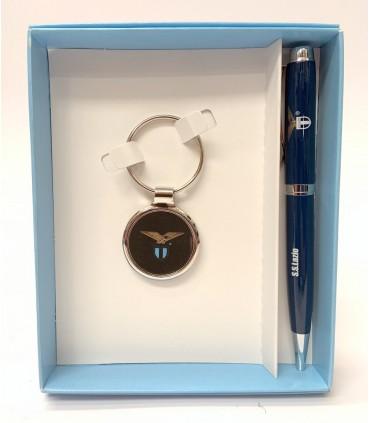 Penna a Sfera + Portachiavi in Metallo S.S. Lazio in scatola da regalo