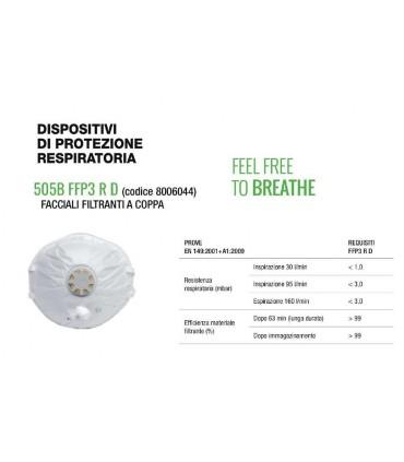 Mascherina di Protezione Respiratoria FFP3 in Tessuto Filtranti a Coppa conf. 10 pz.