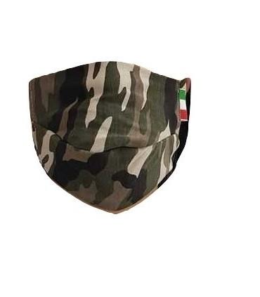 Mascherine Proteggi-Fiato Adulto  Mod. Camouflage in Cotone 100% Lavabile idrorepellente e Traspirante conf. 10 pz.