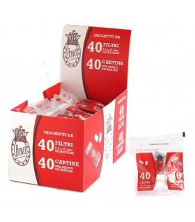 Rex Bravo Cartina Corta Extra fine + Filtri Ultra slim 5.5mm  confezione abbinata da 40 bustine da 40 cartine + 40 filtri