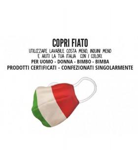 Mascherine Proteggi-Fiato Uomo Mod. Tricolore in Cotone 100% Lavabile idrorepellente e Traspirante conf. 10 pz.