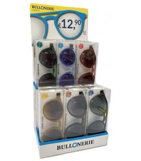 Occhiali da Sole Bullonerie Round M4 in Expo da 12 pz. assortito con 6 colori