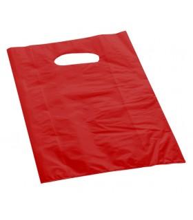 Shopper in Plastica 60 Micron  Mis.18x35 cm con Manico a Fagiolo conf. da 150 pz. colore Rosso