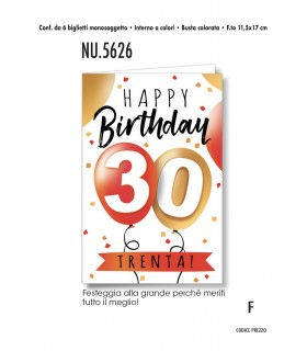 Biglietto Cromo Compleanno 30 anni conf. 6 pz. monosoggetto