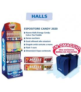 HALLS CANDY 2020 STICK EXPO DA 180 PZ. + OMAGGIO 50 ACCENDINI PIETRINA + 1  BORSA DA PALESTRA