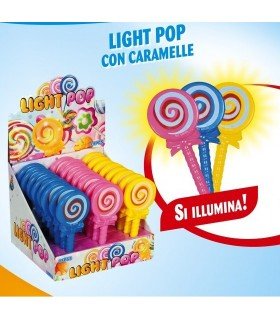 LIGHT POP CON LUCE E CARAMELLE ALLA FRUTTA EXPO 24 PZ. COLORI ASSORTITI