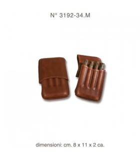 Portasigari per 4 mezzi toscani  tipo pelle colore Marrone