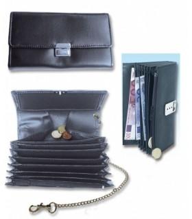Porta Banconote e Monete in PVC Morbido con Catena colore Nero