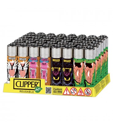 Accendino Clipper Large Wild Mouth conf. 48 pz. assortito con 4 grafiche