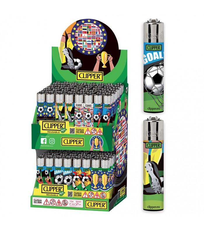 Accendino Clipper Large Football Cup Espositore in Cartone da 96 pz. assortito con 8 grafiche
