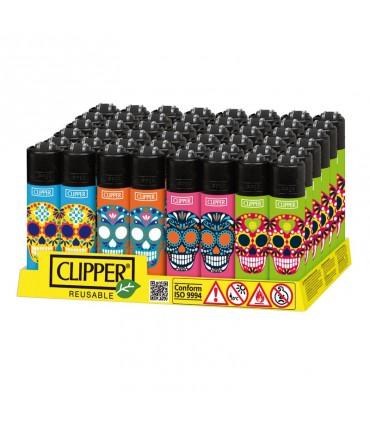 Accendino Clipper Micro Skully conf. 48 pz. assortito con 4 grafiche