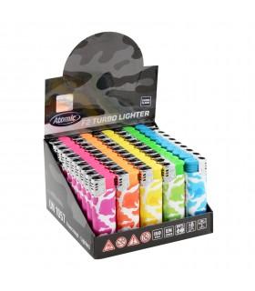 Accendino Atomic Turbo Flame Camouflage conf. 50 pz. assortito con 5 colori