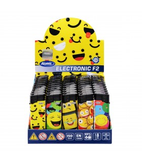 Accendino Elettronico Atomic Smiley conf. 50 pz. assortito con 5 fantasie