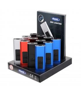 Accendino Elettronico Atomic Antivento con Arco al Plasma e ricarica USB Expo da 13 pz. colori assortiti