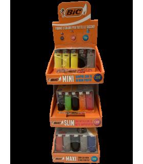 Espositore da Banco assortito con Accendini Bic Mini - Slim - Maxi pz. 150