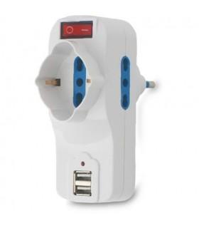 Adattatore Multipresa Arlux con 2 Connesioni USB e Interruttore On/OF