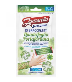 Zanzarella 10 Bracciali Quadrifoglio Protettivi per adulti e bambini 10 pz.