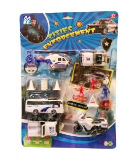Set Mezzi Polizia con Accessori